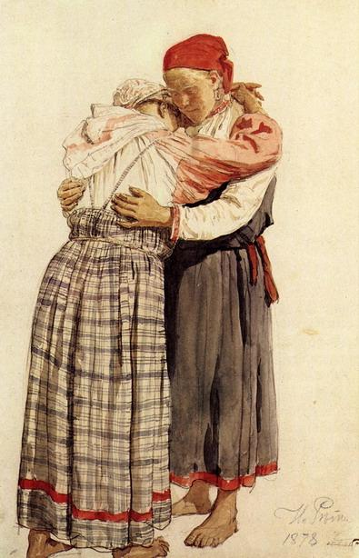 Две женские фигуры (обнимающиеся крестьянки). Этюд. 1878