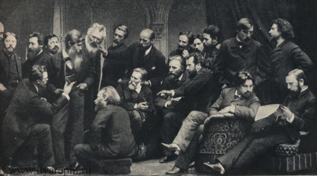 Группа передвижников в 1886 г. С фотографии в архиве ГТГ.