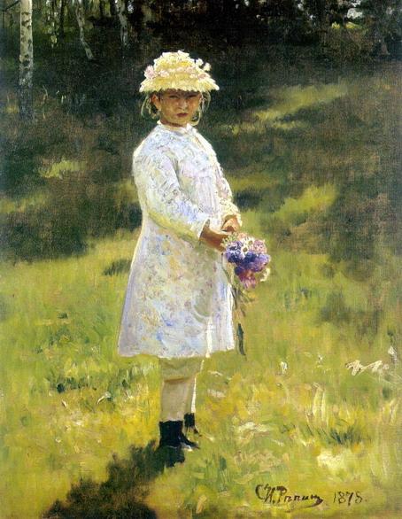 Девочка с букетом. Вера Репина, дочь художника. 1878