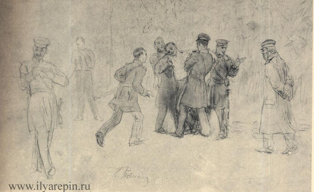 Дуэль. Рисунок-вариант для картины. 1896 — 1897
