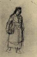Девушка идущая, с портфелем.