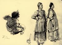 Две украинские девушки и сидящий молодой крестьянин, играющий на дудке.