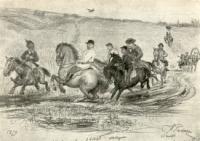Кавалькада в Абрамцеве. Рисунок-шарж 1879