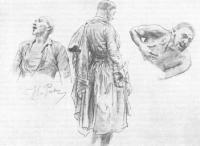 Наброски к картине Запорожцы. Рисунки. 1878