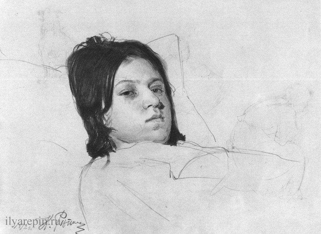 Голова лежащей женщины (В. А. Репина, лежащая в постели)