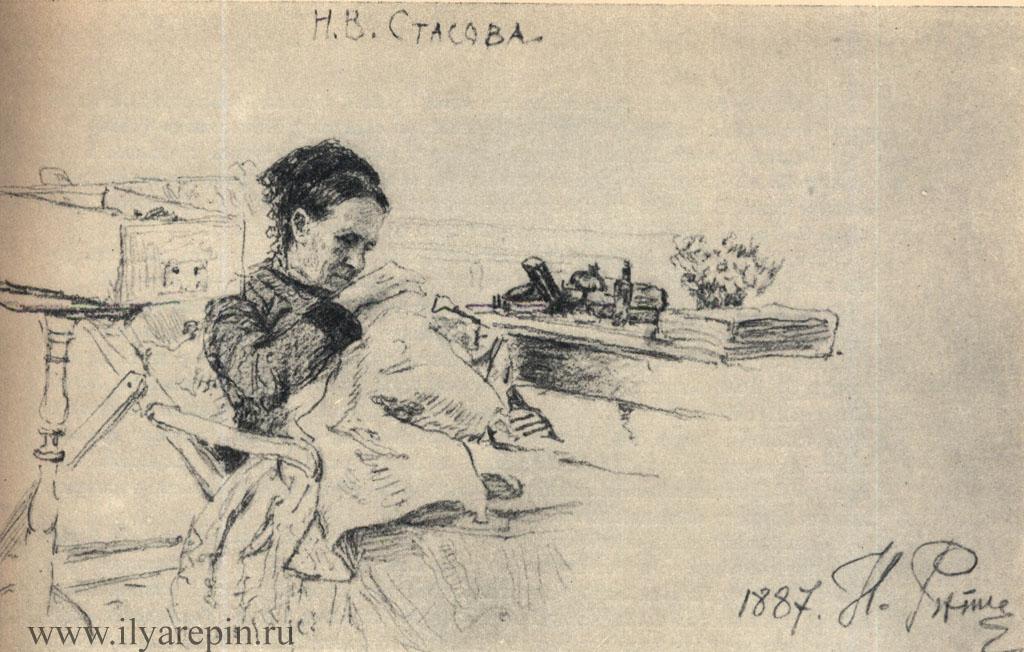 Н. В. Стасова за вязаньем. Рисунок карандашем 1887. ГРМ