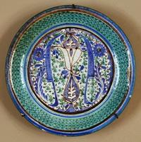 Расписное глазированное блюдо (керамика)