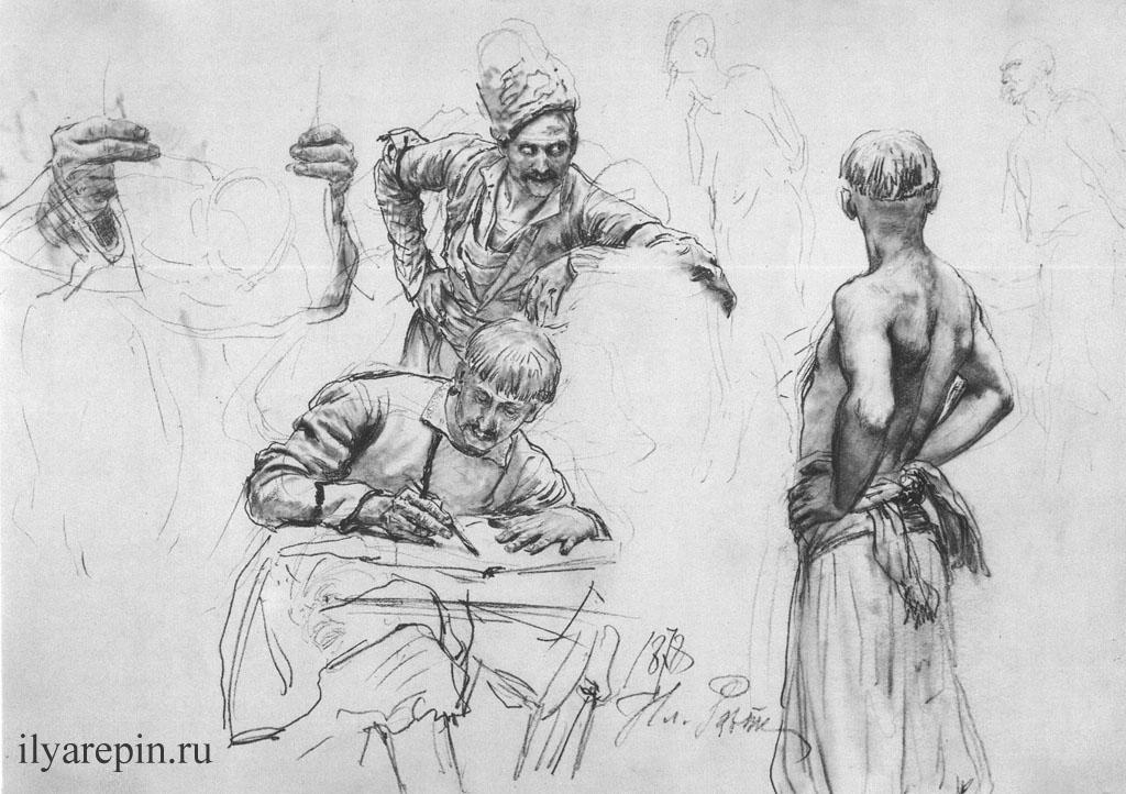 Запорожец в шапке. Писарь. Запорожец, обнаженный по пояс. Середина 1880-х