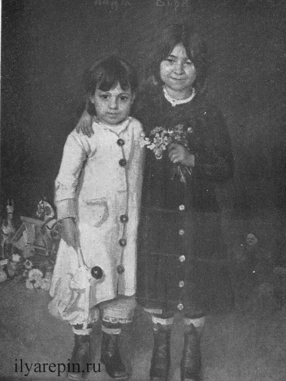 И. Е. Репин. Портрет Нади и Веры Репиних (1877 г.).