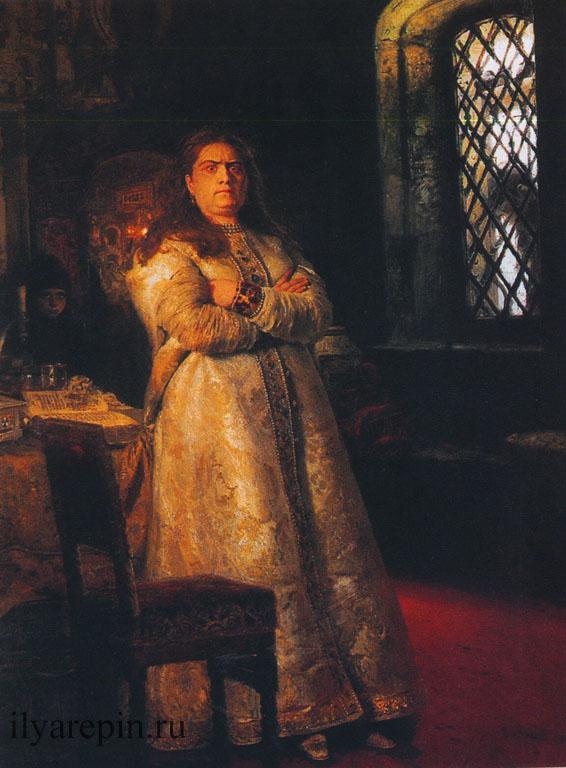 Царевна Софья Алексеевна через год после ее заключения в Новодевичьем монастыре, во время казни стрельцов и пытки всей ее прислуги в 1689г. 1879