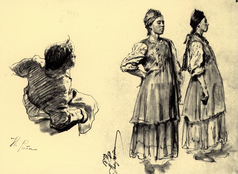 Две украинские девушки и сидящий молодой крестьянин, играющий на дудке. Этюд.