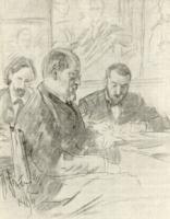 В.А.Беклемишев, М.П.Боткин и Л.В.Позен на заседании в Академии художеств.