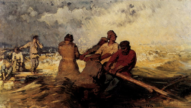 На плоту в шторм на Волге. 1870