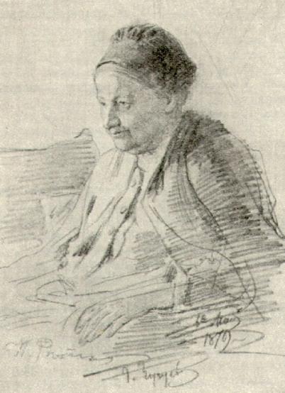 Т.С. Репина, мать художника. Рисунок. 1879