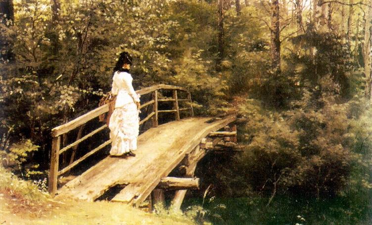 На мостике в парке. 1879