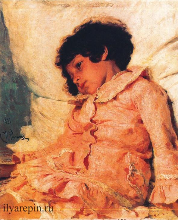 Надя Репина, дочь художника. 1881