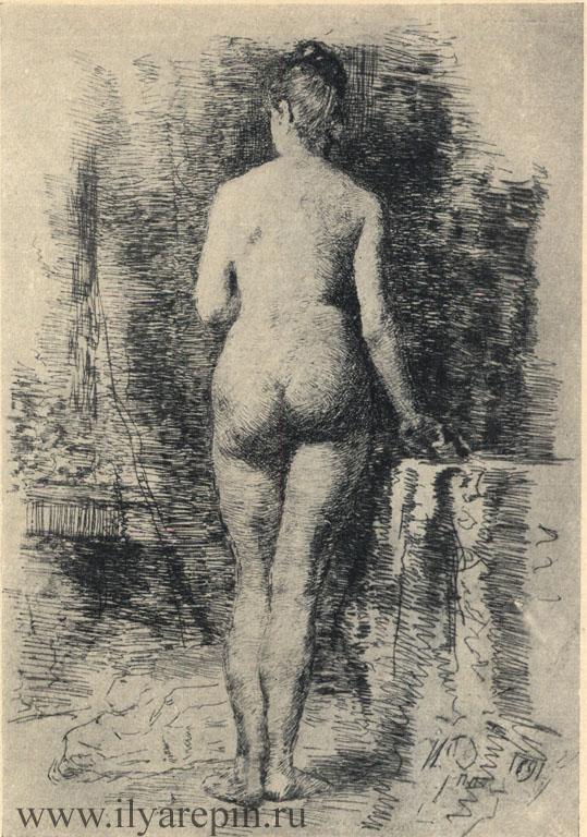 Натурщица спиной. Офорт. 1891