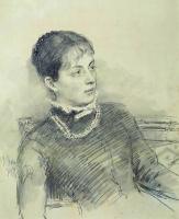Портрет молодой жены, сидящей на диване. 1881