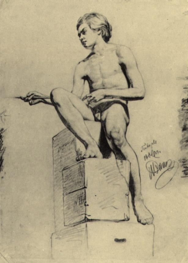 Сидящий натурщик (натурщик-юноша). 1866