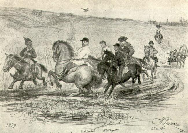 Кавалькада в Абрамцеве. Рисунок-шарж. 1879