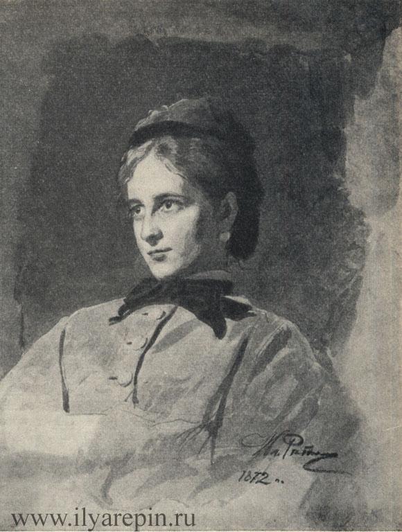 Портрет неизвестной. Акварель. 1872. ГТГ