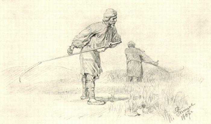 Крестьянин косит. Рисунок. 1867