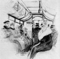 В конке. Рисунок. 1891